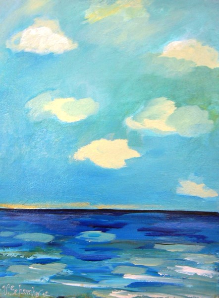 Acalmie Seascape in Blue and White