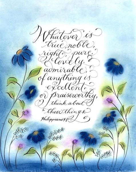 philippians 4:8 calligraphy art