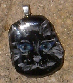 Black Kitty Face Pendant, HandPainted Fused Glass