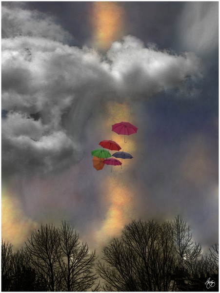 Umbrellas in a Cloudscape