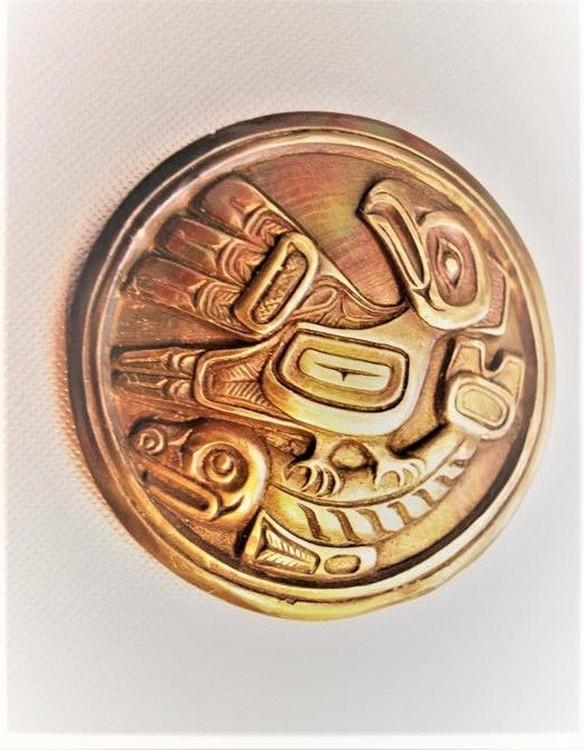 Native Indian American Eagle NorthWest Eagle Hunter Sea Monster Belt Buckle made in solid Bronze CA
