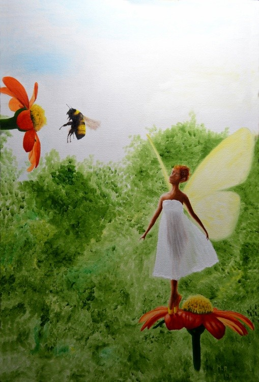 a fairy and a bumblbee