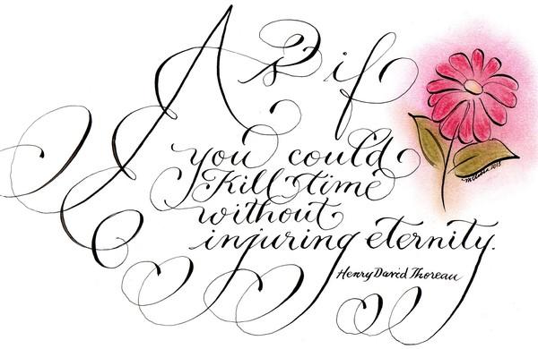 Inspirational Thoreau quote calligraphy art