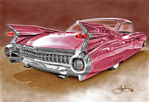Pink Cadillac drawing
