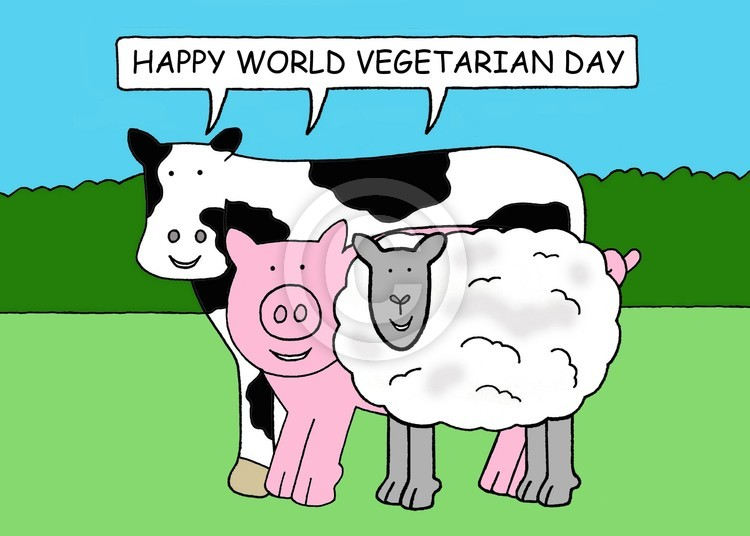 World Vegetarian Day October 1st Cartoon Farm Anim