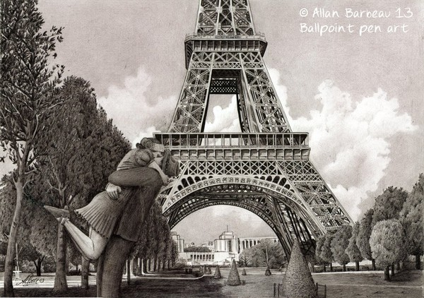 Ballpoint pen art - Madame Eiffel
