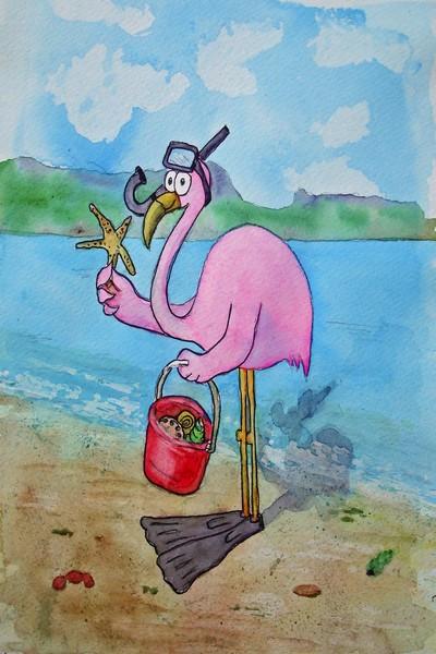 Pink Flamingo Collecting Shells At Beach