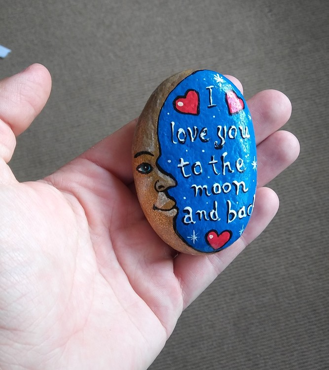 Hand painted rock art stone Moon