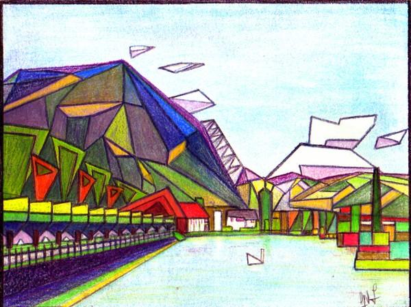 Cubist style impression of lake photo