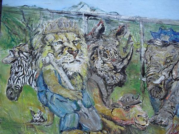 Safari Miners !8 X 24 oil o Canvas