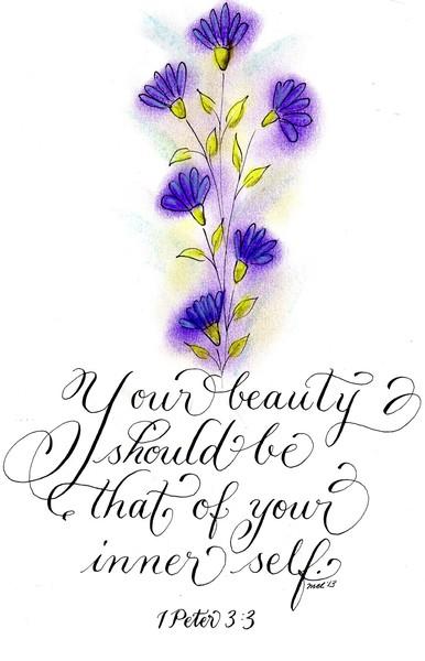 Inspirational verse purple flower art design