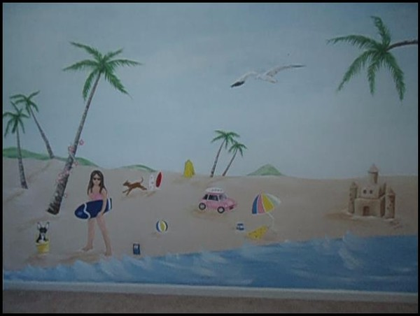 Girl's bedroom beach mural