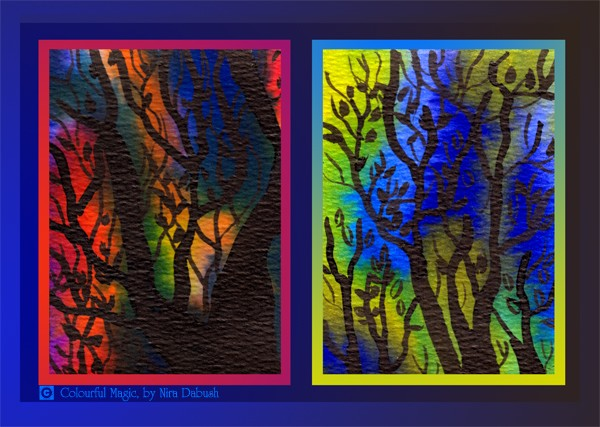 The silhouette of Trees Dipped in Colours