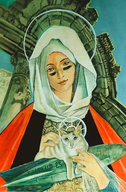 Religious-Looking Lady with cat and smart bomb
