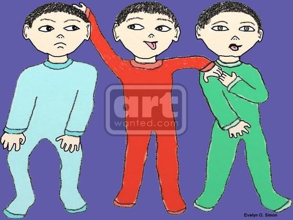 Triplet boys in their jammies