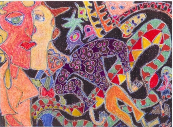 Circling lovers:  rewind../.drawing. ink, pencils, acrylic on 11x14in paper..(c) 2003 elton houck