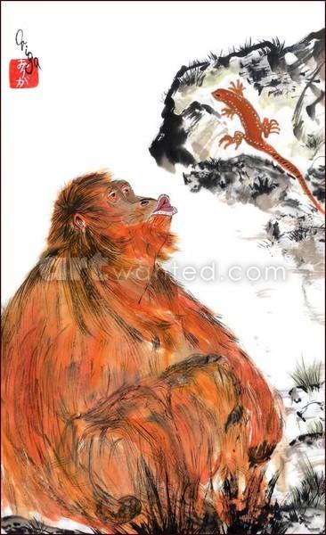 Sympathy. Orangutan and Lizard.