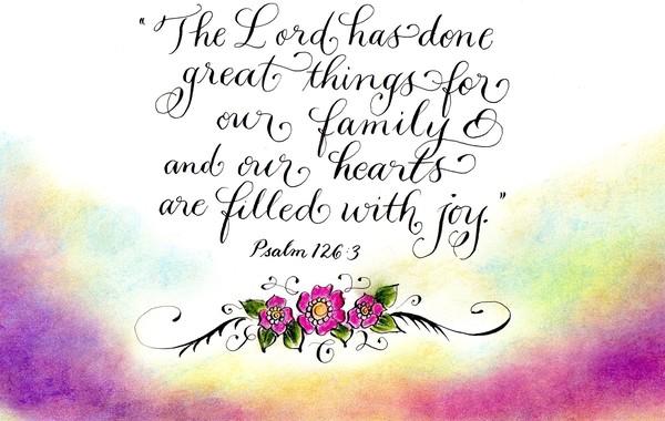Joyful hearts inspirational verse Psalm 126
