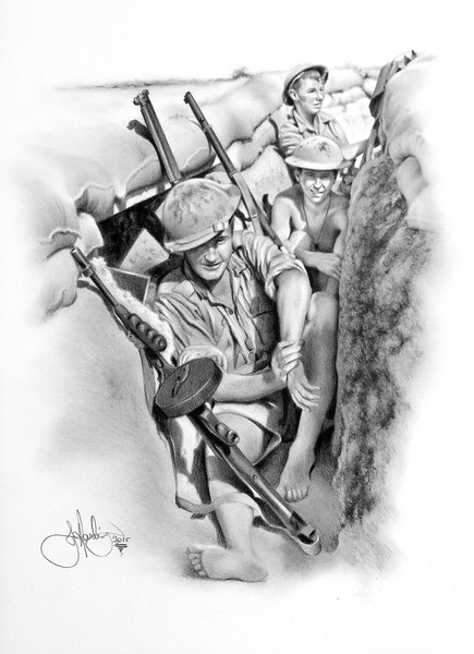 ANZAC soldiers drawing