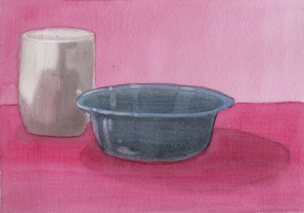 blue bowl watercolor still life