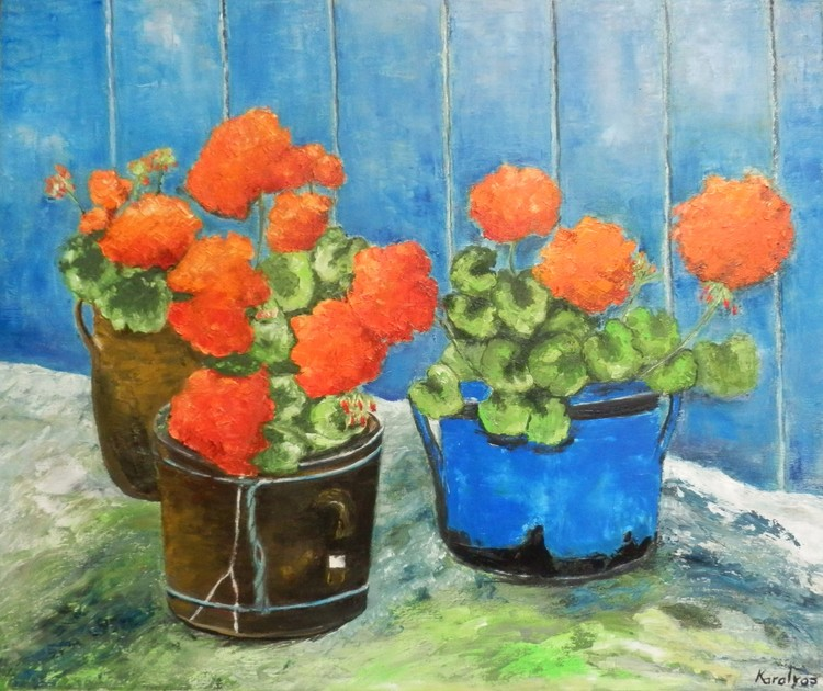 Vases with geraniums