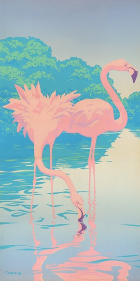 Two Flamingos Acrylic Painting