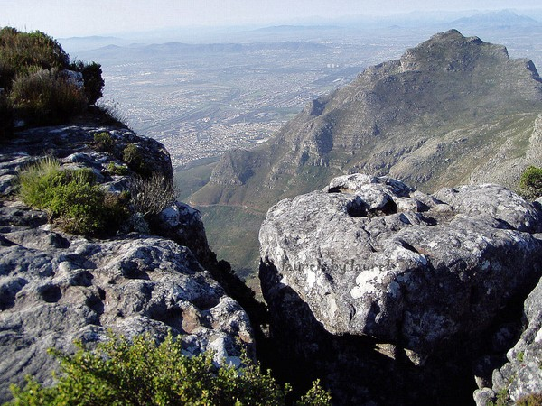 View of Capetown through a Rocky Crevice