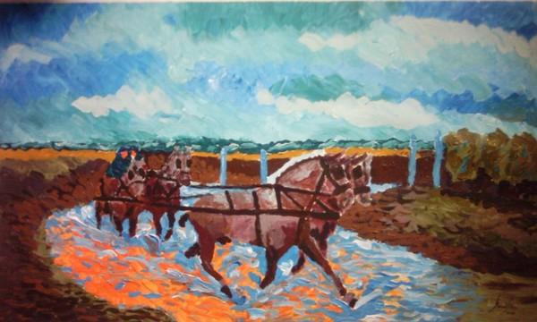 Horses under a summer storm
