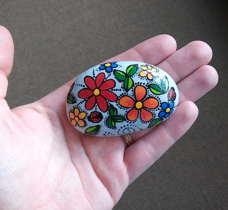 Hand painted rock art flowers