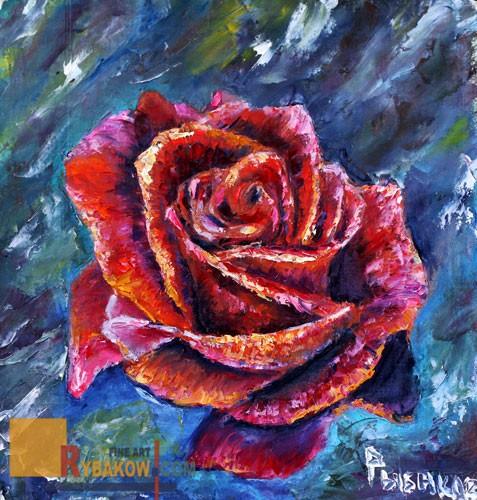 Flower Oil Knife painting Red ROSE