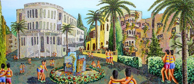 naive urban landscape paintings naife artist painter raphael perez folk artworks painting