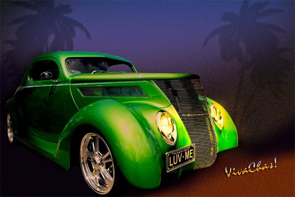 Green 37 Ford Hot Rod