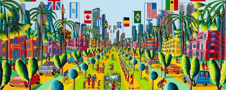 naive art paintings urban landscape paintings folk primitive artist painter raphael perez