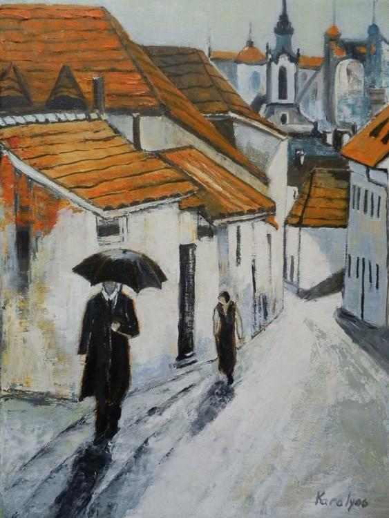 Rain on a Sibiu street  - sold