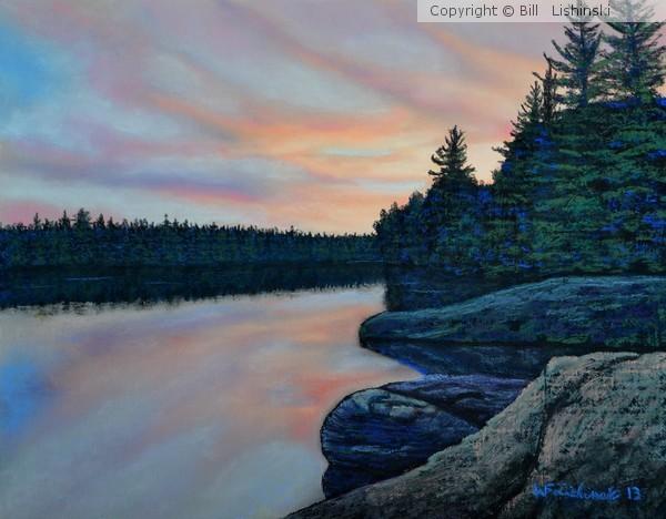 Sunset Red Deer Lake Wanup Ontario Canada