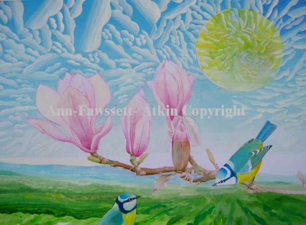 2 Blue Tits and Magnolia
