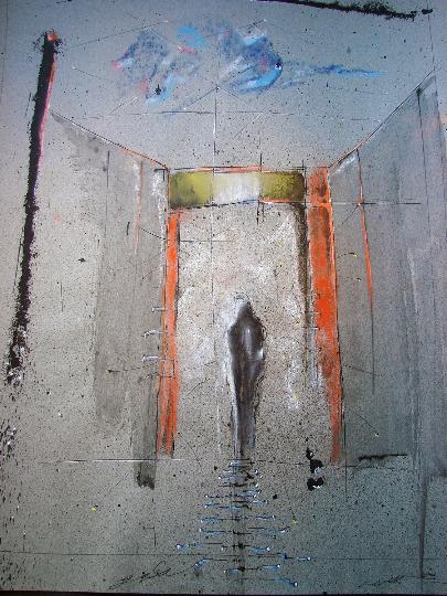 The Door Ink Pastel painting