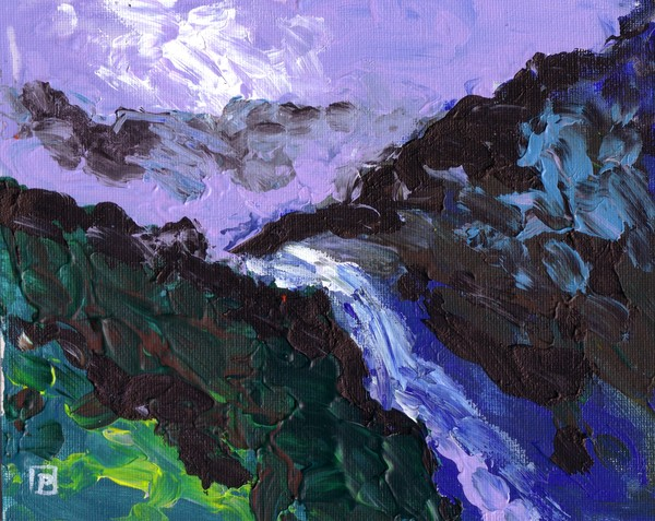 A MOUNTAIN STREAM ABSTRACT FINGER PAINTING