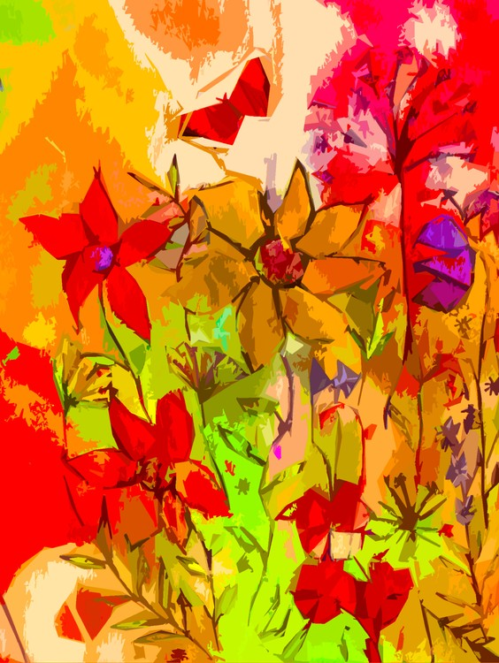 Watercolour flowers on watercolour background