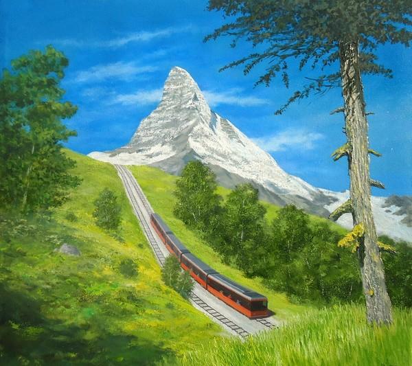 GORNERGRAT TRAIN NEAR MATTERHORN