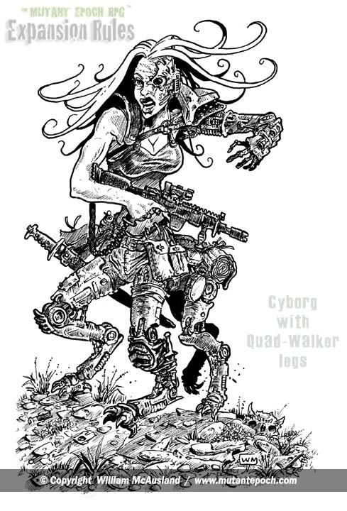 Cyborg with quad-walker legs