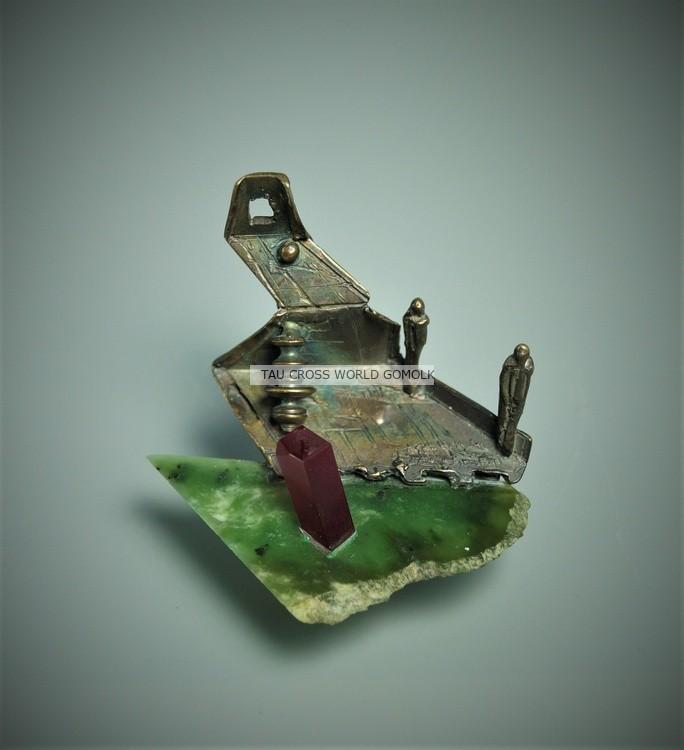 Jewelry Bronze Sculpture Art Pendant ,So Long Ago, BC Jade Nephrite. Bronze Ruby. Gomolka Art Studio