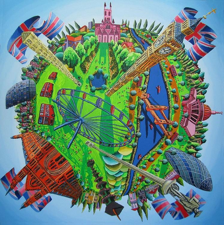 london city naive art painting famous sites places
