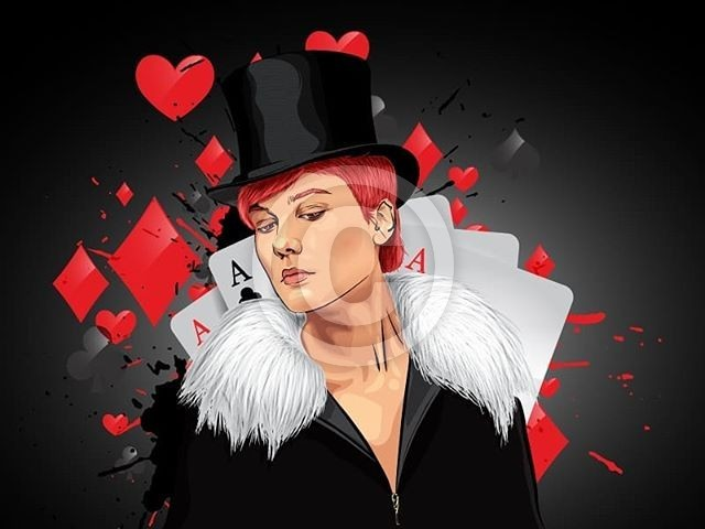 Vector Portrait with Illustration - magician with some card behind