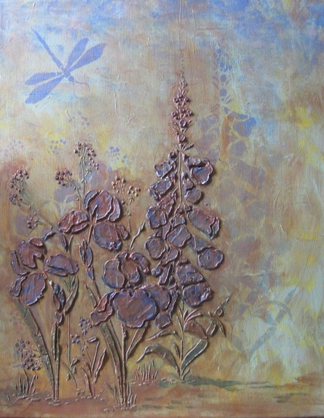 Bronze and Blue Floral relief