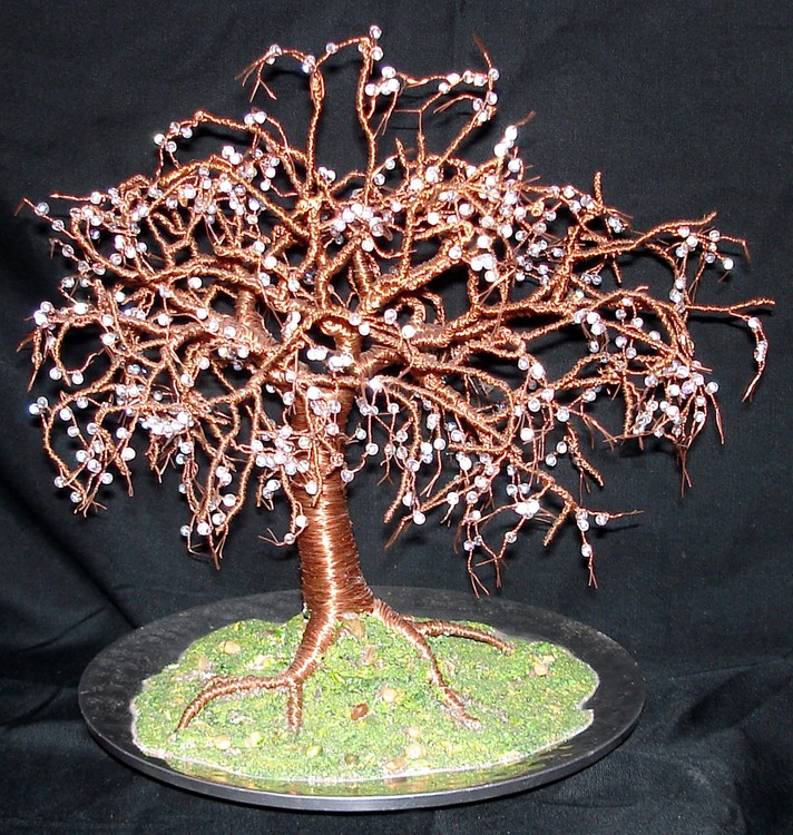 Crystal Willow - Wire Tree Sculpture, with glass b