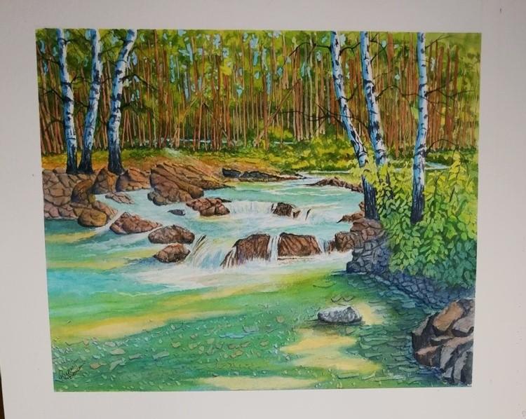 Sic Birch Trees by Stream
