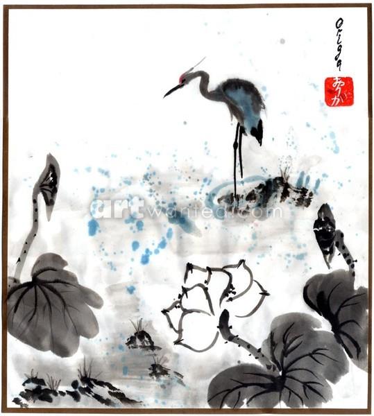 Blue Heron at the Lotus Pond