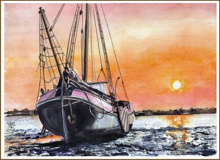 Enjoying sunset on the shoal