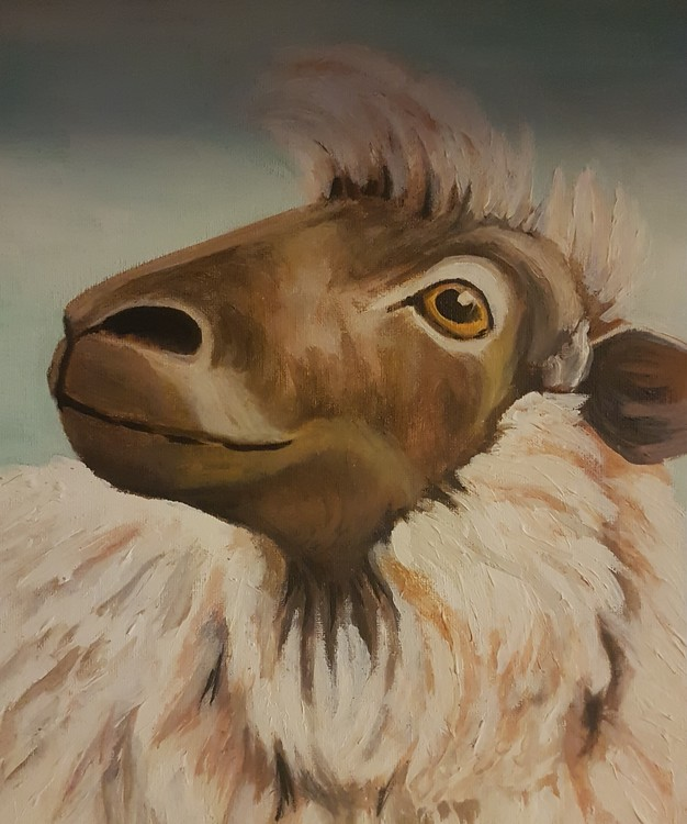 sheep in acrylics on medium canvas board 2019 (unfinished)